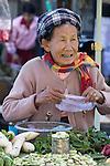 Myanmar, (Burma), Shan State, Kengtung: Central Market | Myanmar (Birma), Shan Staat, Kengtung: alte Frau mit Gemuesestand auf dem Zentralmarkt