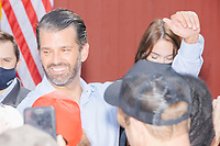 Donald Trump, Jr., son of president Donald Trump and a rising Republican political star, greets people after speaking at an outdoor campaign rally at The Lobster Trap in North Conway, New Hampshire, on Thu., Sept. 24, 2020.