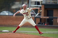 Dayton Flyers starting pitcher Cole Pletka (33) in action against the Campbell Camels at Jim Perry Stadium on February 28, 2021 in Buies Creek, North Carolina. The Camels defeated the Flyers 11-2. (Brian Westerholt/Four Seam Images)