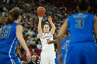 FRESNO, CA--Lindy LaRocque drains a bucket en route to a 81-69 win over Duke at the Save Mart Center for the West Regionals Championship of the 2012 NCAA Championships. The Cardinal advances to the Final Four in Denver, facing Baylor in the semifinals.