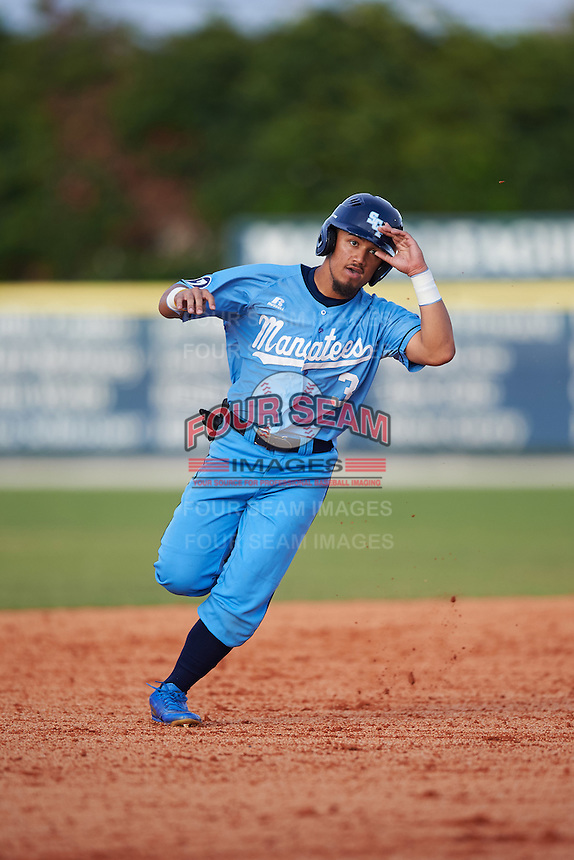 SCF Manatees Rougie Odor (3) running the bases during a game against the College of Central Florida Patriots on February 8, 2017 at Robert C. Wynn Field in Bradenton, Florida.  SCF defeated Central Florida 6-5 in eleven innings.  (Mike Janes/Four Seam Images)