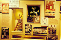 Hall of Fame, Cooperstown, baseball, NY, New York, Babe Ruth exhibit displayed inside the National Baseball Hall of Fame and Museum.