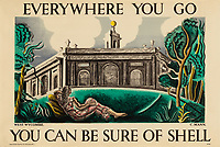 BNPS.co.uk (01202 558833)<br /> Pic: Lyon&Turnbull/BNPS<br /> <br /> Pictured: West Wycombe in  Buckinghamshire featured in the advertising campaign<br /> <br /> A vast collection of vintage Shell posters have sold at auction for almost £60,000.<br /> <br /> The group of 49 sheets were sold directly from the oil giant's archives and featured some incredibly rare designs from down the years.<br /> <br /> All of the posters had previously been used in Shell advertising campaigns, dating back to between the 1920s and 1950s.<br /> <br /> Many of the colourful designed featured the slogan 'You can be sure of Shell' and list people who preferred their fuel.