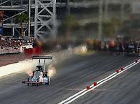 Apr 10, 2015; Las Vegas, NV, USA; NHRA top fuel driver J.R. Todd during qualifying for the Summitracing.com Nationals at The Strip at Las Vegas Motor Speedway. Mandatory Credit: Mark J. Rebilas-