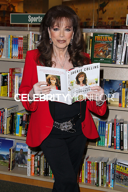 """LOS ANGELES, CA, USA - APRIL 17: Writer Jackie Collins poses before signing copies of her new book """"The Lucky Santangelo Cookbook"""" at Barnes & Noble bookstore at The Grove on April 17, 2014 in Los Angeles, California, United States. (Photo by Xavier Collin/Celebrity Monitor)"""