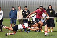 Francis Manuleleua of Kings College runs with the ball during the College 1st XV Rugby - Scots College v Kings College at Scots College, Wellington, New Zealand on Saturday 8 May 2021.<br /> Copyright photo: Masanori Udagawa /  www.photosport.nz