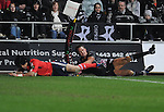 Lee Byrne cannot stop Lifeimi Mafi from diving over the line to score Munsters first try. Ospreys V Munster , Magners League.© Ian Cook IJC Photography iancook@ijcphotography.co.uk www.ijcphotography.co.uk
