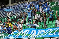MONTERIA - COLOMBIA, 1-08-2021: Hinchas de Jaguares animan a su equipo durante el partido por la fecha 3 Liga BetPlay DIMAYOR II 2021 entre Jaguares de Córdoba F.C. Atlético Huila jugado en el estadio Jaraguay de la ciudad de Montería. / Fans of Jaguares cheer for their team during match for the date 3 BetPlay DIMAYOR League II 2021 between Jaguares de Cordoba F.C. and Atlético Huila played at Jaraguay stadium in Monteria city. Photo: VizzorImage / Andres Felipe Lopez / Cont