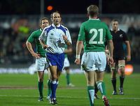 Referee Romain Poite talks to Ireland's Ronan O'Gara during the Steinlager Series international rugby test match between All Blacks and Ireland at Waikato Stadium, Hamilton, New Zealand on Saturday, 23 June 2012. Photo: Dave Lintott / lintottphoto.co.nz