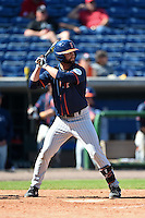 Cal State Fullerton Titans infielder Taylor Bryant (1) at bat during a game against the Louisville Cardinals on February 15, 2015 at Bright House Field in Clearwater, Florida.  Cal State Fullerton defeated Louisville 8-6.  (Mike Janes/Four Seam Images)