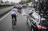 Peter Sagan (SVK/Bora-Hansgrohe) returning his jacket to the teamcar<br /> <br /> 105th Scheldeprijs 2017 (1.HC)<br /> 1 Day Race: Mol › Schoten (BEL/202km)