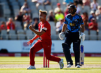17th July 2021; Emirates Old Trafford, Manchester, Lancashire, England; T20 Vitality Blast Cricket, Lancashire Lightning versus Yorkshire Vikings; First bllood to Lancashire Lightning Lightning as Luke Wood has Adam Lyth of Yorkshire Vikings caught behind in the second over for just 8