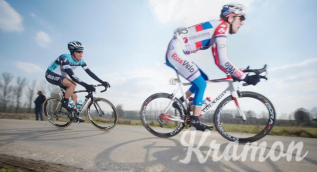 3 Days of De Panne.stage 1: Middelkerke - Zottegem..Iljo Keisse (BEL) tailing Valery Kaykov (RUS)