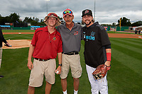 Batavia Muckdogs head groundskeepers Cooper Thomson and Joe Mogavero pose with Harrison DiNicola (right) after throwing out ceremonial first pitches after being honored for Field of the Year before a NY-Penn League Semifinal Playoff game against the Lowell Spinners on September 4, 2019 at Dwyer Stadium in Batavia, New York.  Batavia defeated Lowell 4-1.  (Mike Janes/Four Seam Images)