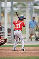Boston Red Sox Yomar Valentin (10) bats during a minor league Spring Training game against the Canada Junior National Team on March 31, 2017 at JetBlue Park in Fort Myers, Florida. (Mike Janes/Four Seam Images)