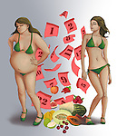 Conceptual illustration of before and after effect of weight with the help of fruit depicting healthy dieting