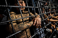 """A member of the 18th Street gang (M-18) stands behind the bars in a cell at the detention center in San Salvador, El Salvador, 20 February 2014. Although the country's two major gangs reached a truce in 2012, the police holding cells currently house more than 3000 inmates, five times more than the official built capacity. Partly because the ordinary Mara gang members did not break with their criminal activities (extortion, street-level distribution of drugs, etc.), partly because Salvadorean police still applies controversial anti-gang law which allows to detain almost anyone for """"suspicion of gang membership"""". Accused young men are held in police detention centers where up to 25 inmates may share a cell of five-by-five metres. Here, in the dark overcrowded cages, under harsh and life-threatening conditions, suspected gang members wait long months, sometimes years, for trial or for to be transported to a regular prison."""