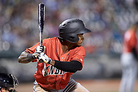 Pablo Reyes (12) of the Indianapolis Indians at bat against the Charlotte Knights at BB&T BallPark on May 26, 2018 in Charlotte, North Carolina. The Indians defeated the Knights 6-2.  (Brian Westerholt/Four Seam Images)