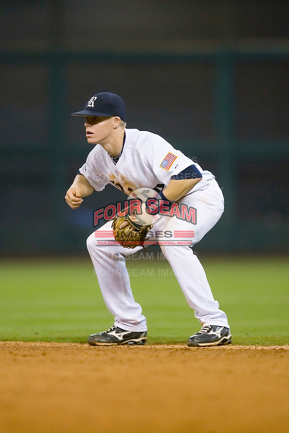 Second baseman Brock Holt #7 of the Rice Owls on defense versus the UCLA Bruins in the 2009 Houston College Classic at Minute Maid Park February 27, 2009 in Houston, TX.  The Owls defeated the Bruins 5-4 in 10 innings. (Photo by Brian Westerholt / Four Seam Images)