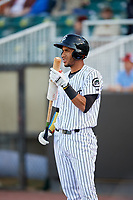 Jackson Generals right fielder Victor Reyes (5) on deck during a game against the Chattanooga Lookouts on April 27, 2017 at The Ballpark at Jackson in Jackson, Tennessee.  Chattanooga defeated Jackson 5-4.  (Mike Janes/Four Seam Images)