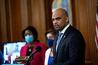 United States Representative Colin Allred (Democrat of Texas) speaks during a news conference on the Affordable Care Enhancement Act at the United States Capitol in Washington D.C., U.S., on Wednesday, June 24, 2020.  Credit: Stefani Reynolds / CNP/AdMedia