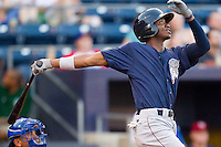 Domonic Brown #9 of the Lehigh Valley IronPigs follows through on his swing against the against the Durham Bulls at Durham Bulls Athletic Park June 26, 2010, in Durham, North Carolina.  Photo by Brian Westerholt / Four Seam Images