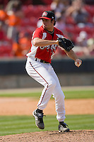 Phillippe Valiquette #38 of the Carolina Mudcats in action against the Jacksonville Suns at Five County Stadium May 16, 2010, in Zebulon, North Carolina.  Photo by Brian Westerholt /  Seam Images