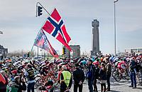peloton passing the 'Ijzertoren' war memorial in Diksmuide<br /> <br /> 79th Gent-Wevelgem 2017 (1.UWT)<br /> 1day race: Deinze › Wevelgem - BEL (249km)