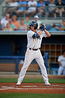 Charlotte Stone Crabs Russ Olive (34) at bat during a Florida State League game against the Fort Myers Miracle on April 6, 2019 at Charlotte Sports Park in Port Charlotte, Florida.  Fort Myers defeated Charlotte 7-4.  (Mike Janes/Four Seam Images)
