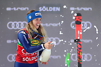 17th October 2020, Rettenbachferner, Soelden, Austria; FIS World Cup Alpine Skiing Womens Downhill; Marta Bassino (ITA) celebrates on the podium as she wins the race