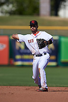 Scottsdale Scorpions second baseman Carlos Asuaje (3) throws to first during an Arizona Fall League game against the Surprise Saguaros on October 22, 2015 at Scottsdale Stadium in Scottsdale, Arizona.  Surprise defeated Scottsdale 7-6.  (Mike Janes/Four Seam Images)