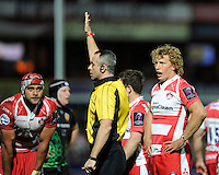 Referee John Lacey of Ireland awards a penalty as captain Billy Twelvetrees and Sione Kalamafoni of Gloucester Rugby look on during the European Rugby Challenge Cup semi final match between Gloucester Rugby and Exeter Chiefs at Kingsholm Stadium on Saturday 18th April 2015 (Photo by Rob Munro)