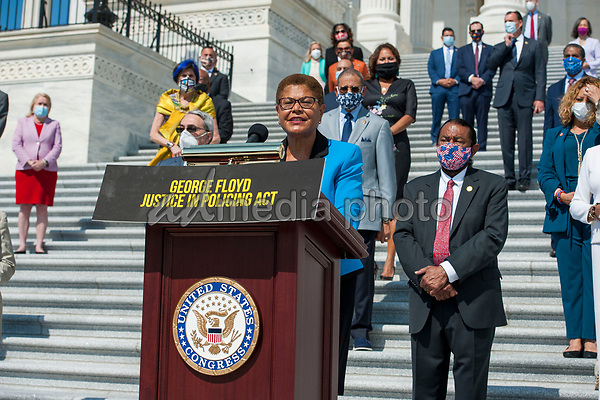 Congressional Black Caucus Chairwoman United States Representative Karen Bass (Democrat of California) offers remarks while she is joined by other members of Congress on the House steps of the US Capitol, for a press conference ahead of the vote on the George Floyd Justice in Policing Act of 2020 in Washington, DC., Thursday, June 25, 2020. <br /> Credit: Rod Lamkey / CNP/AdMedia