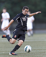 Brown University defender Jack Gorab (23) controls the ball. Brown University (black) defeated Boston College (white), 1-0, at Newton Campus Field, October 16, 2012.