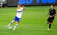 LOS ANGELES, CA - SEPTEMBER 02: Florian Jungwirth #23 of the San Jose Earthquakes moves to the ball during a game between San Jose Earthquakes and Los Angeles FC at Banc of California stadium on September 02, 2020 in Los Angeles, California.