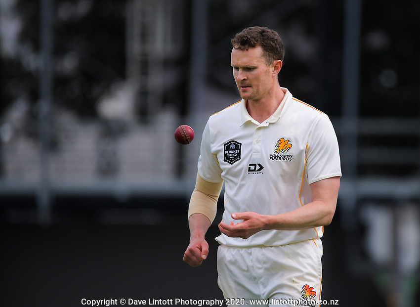 Ollie Newton prepares to bowl during day one of the Plunket Shield match between the Wellington Firebirds and Otago at Basin Reserve in Wellington, New Zealand on Thursday, 5 November 2020. Photo: Dave Lintott / lintottphoto.co.nz