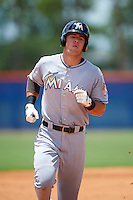GCL Marlins first baseman Colby Lusignan (45) runs the bases after hitting a home run during a game against the GCL Mets on August 12, 2016 at St. Lucie Sports Complex in St. Lucie, Florida.  GCL Marlins defeated GCL Mets 8-1.  (Mike Janes/Four Seam Images)