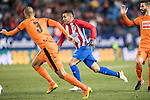 Angel Correa (r) of Atletico de Madrid fights for the ball with Alejandro Galvez Jimena of SD Eibar during their Copa del Rey 2016-17 Quarter-final match between Atletico de Madrid and SD Eibar at the Vicente Calderón Stadium on 19 January 2017 in Madrid, Spain. Photo by Diego Gonzalez Souto / Power Sport Images