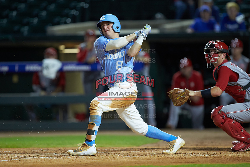 Ike Freeman (8) of the North Carolina Tar Heels follows through on his swing against the North Carolina State Wolfpack in Game Twelve of the 2017 ACC Baseball Championship at Louisville Slugger Field on May 26, 2017 in Louisville, Kentucky. The Tar Heels defeated the Wolfpack 12-4. (Brian Westerholt/Four Seam Images)