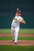 Burlington Bees starting pitcher Grayson Long (34) delivers a pitch during a game against the Bowling Green Hot Rods on May 7, 2016 at Community Field in Burlington, Iowa.  Bowling Green defeated Burlington 11-1.  (Mike Janes/Four Seam Images)