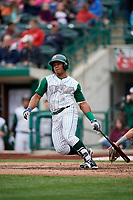 Fort Wayne TinCaps third baseman Eguy Rosario (1) follows through on a swing during a game against the Wisconsin Timber Rattlers on May 10, 2017 at Parkview Field in Fort Wayne, Indiana.  Fort Wayne defeated Wisconsin 3-2.  (Mike Janes/Four Seam Images)