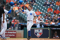Luke Heyer (26) of the Kentucky Wildcats celebrates a run against the Sam Houston State Bearkats during game four of the 2018 Shriners Hospitals for Children College Classic at Minute Maid Park on March 3, 2018 in Houston, Texas. The Wildcats defeated the Bearkats 7-2.  (Brian Westerholt/Four Seam Images)