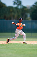 GCL Astros second baseman Dexter Jordan (12) throws to first base during a Gulf Coast League game against the GCL Marlins on August 8, 2019 at the Roger Dean Chevrolet Stadium Complex in Jupiter, Florida.  GCL Marlins defeated GCL Astros 5-4.  (Mike Janes/Four Seam Images)