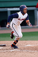 Center fielder Taylor Jackson (15) of the Illinois Fighting Illini starts down the first base line against the Ohio State Buckeyes on Friday, March 5, 2021, at Fluor Field at the West End in Greenville, South Carolina. (Tom Priddy/Four Seam Images)