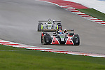 Ryan Booth (18), Performance Tech driver and Sean Rayhall (14), Comprent Motorsports driver in action during the ALMS/WEC practice sessions at the Circuit of the Americas race track in Austin,Texas.