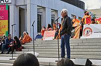 Finale de la Marche pour la Réconciliation, le 30 septembre 2021, sur le parvis de la Place des arts.<br /> <br /> Il s'agit de la 1ere journée de commémoration des enfants des pensionnats.<br /> <br /> En photo : Le Chef Ghislain Picard <br /> <br /> PHOTO : Agence Quebec Presse