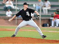Pitcher Ethan Icard (37) of the Bristol White Sox, Appalachian League affiliate of the Chicago White Sox, in a game against the Elizabethton Twins on August 18, 2011, at Joe O'Brien Field in Elizabethton, Tennessee. Elizabethton defeated Bristol, 13-3. (Tom Priddy/Four Seam Images)