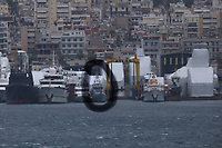 Border Control vessel HMC Valiant (CIRCLED) by a shipyard in the Perama area of Piraeus, Greece. Thursday 03 January 2019
