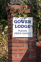 The entrance to Gower Lodge Care Home in Gowerton near Swansea, Wales, UK.
