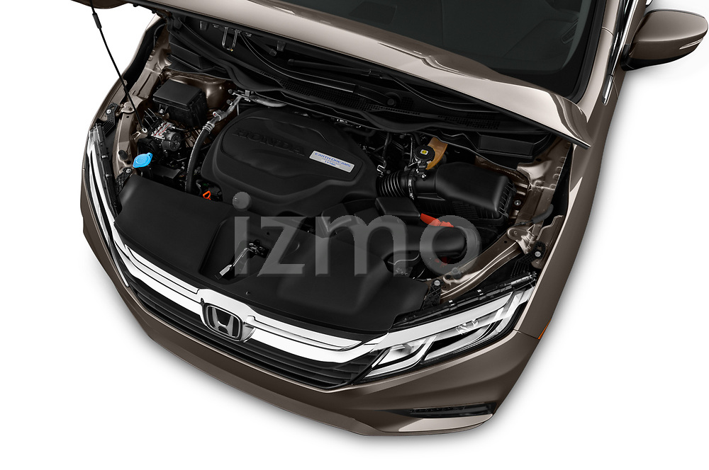Car Stock 2019 Honda Odyssey EX-L 5 Door Minivan Engine  high angle detail view